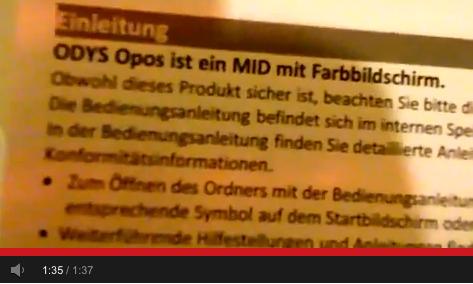 ODYS Opos, ein MID mit Farbbildschirm