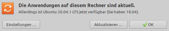 ... Allerdings ist Ubuntu 20.04.1 LTS jetzt verfügbar